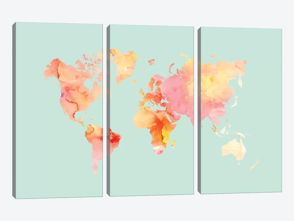 World Map Pastel Watercolor by Willow & Olive by Amy Brinkman 3-piece Canvas Art Print