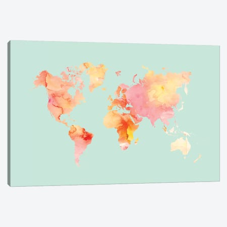 World Map Pastel Watercolor Canvas Print #WAO67} by Willow & Olive Canvas Wall Art