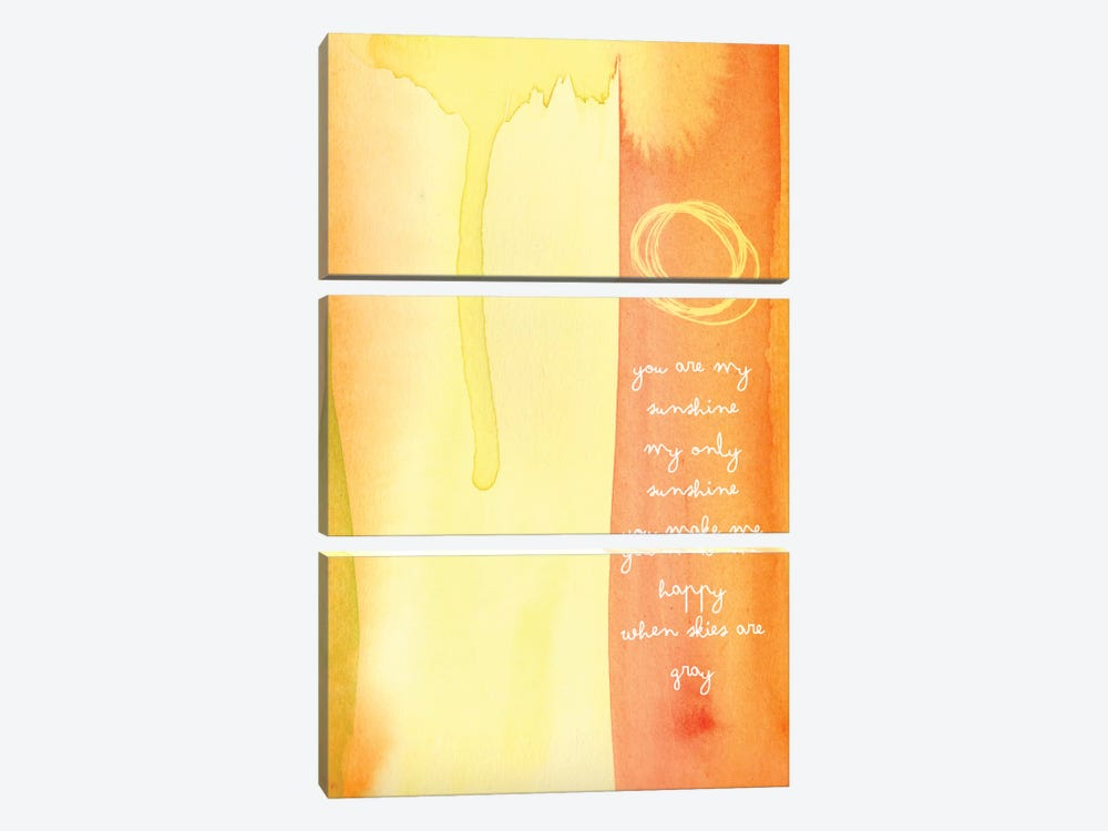 You Are My Sunshine Watercolor by Willow & Olive 3-piece Canvas Art Print