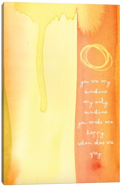 You Are My Sunshine Watercolor Canvas Art Print