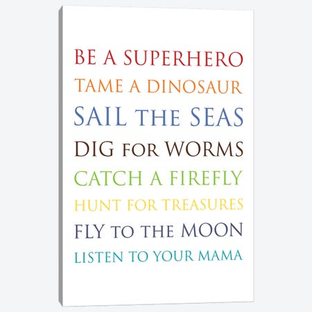 Be A Superhero-Multi Canvas Print #WAO76} by Willow & Olive Art Print