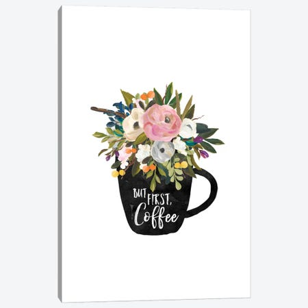 But First Coffee Cup Canvas Print #WAO7} by Willow & Olive Canvas Wall Art