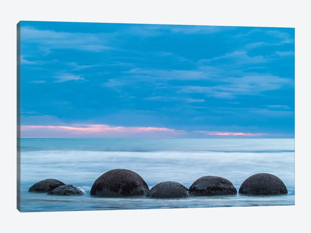 New Zealand, South Island, Otago, Moeraki, Moeraki Boulders, dawn I by Walter Bibikow 1-piece Canvas Art Print