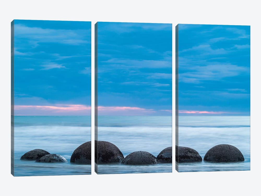 New Zealand, South Island, Otago, Moeraki, Moeraki Boulders, dawn I by Walter Bibikow 3-piece Art Print