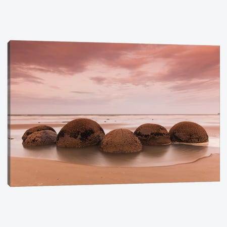 New Zealand, South Island, Otago, Moeraki, Moeraki Boulders, dusk Canvas Print #WBI104} by Walter Bibikow Canvas Art