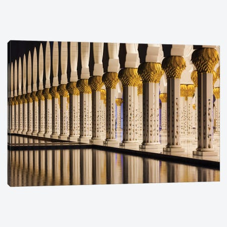 UAE, Abu Dhabi. Sheikh Zayed bin Sultan Mosque arches I Canvas Print #WBI110} by Walter Bibikow Canvas Art