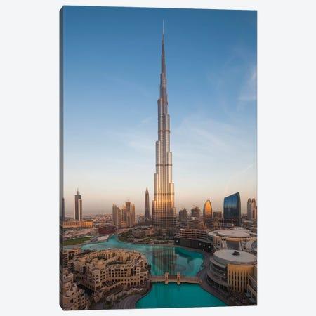 UAE, Downtown Dubai. Cityscape with Burj Khalifa. Canvas Print #WBI112} by Walter Bibikow Canvas Wall Art