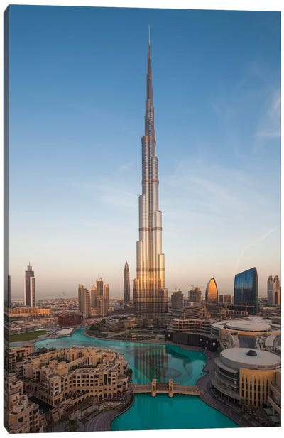 UAE, Downtown Dubai. Cityscape with Burj Khalifa. Canvas Art Print