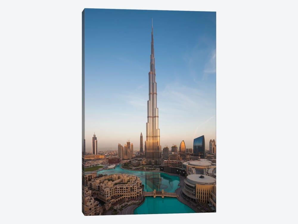 UAE, Downtown Dubai. Cityscape with Burj Khalifa. by Walter Bibikow 1-piece Canvas Print