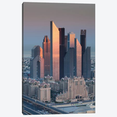 UAE, Downtown Dubai. Skyscrapers on Sheikh Zayed Road from downtown Canvas Print #WBI113} by Walter Bibikow Canvas Artwork