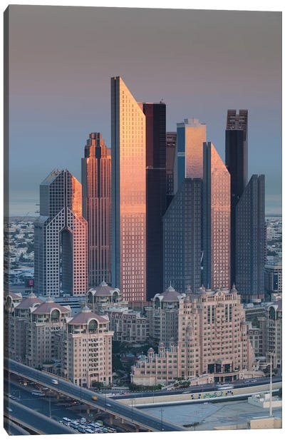 UAE, Downtown Dubai. Skyscrapers on Sheikh Zayed Road from downtown Canvas Art Print