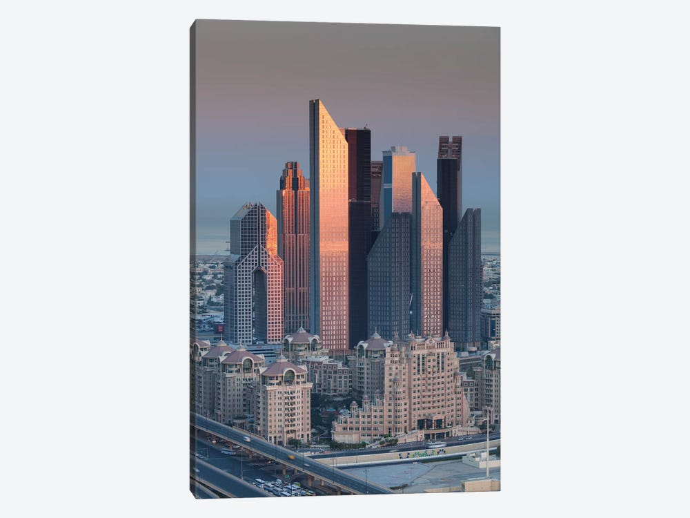 UAE, Downtown Dubai. Skyscrapers on Sheikh Zayed Road from downtown by Walter Bibikow 1-piece Canvas Art