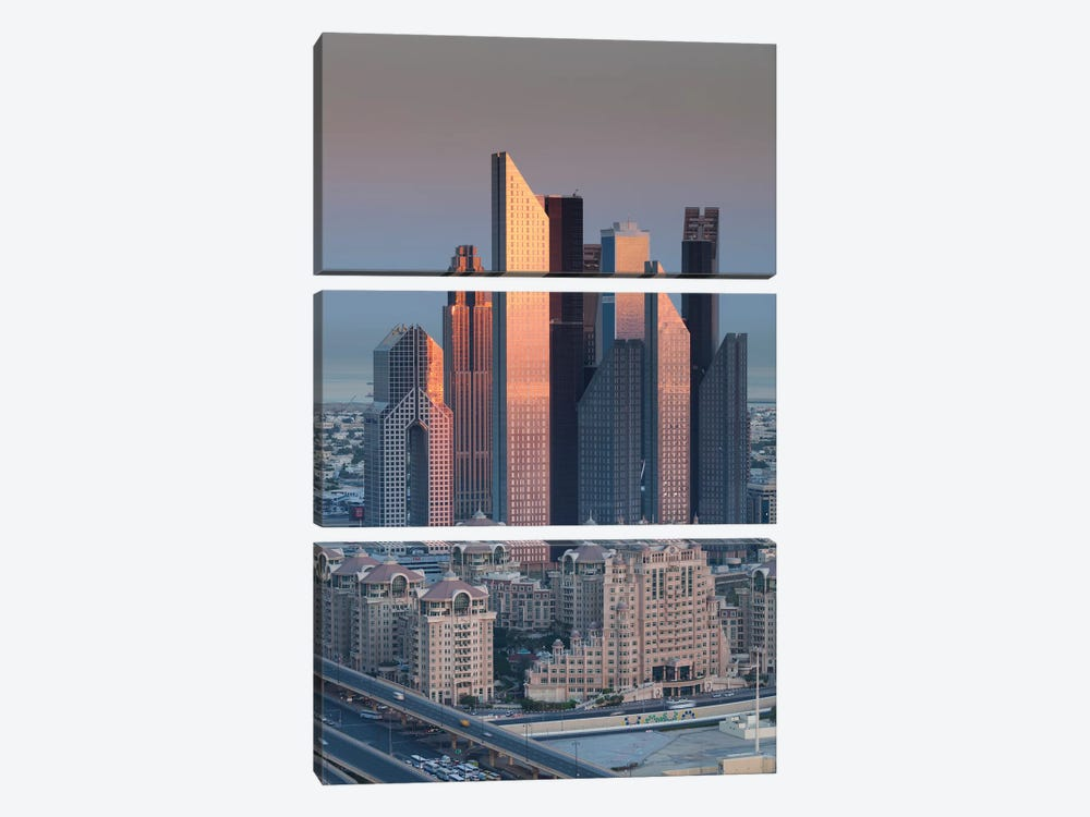 UAE, Downtown Dubai. Skyscrapers on Sheikh Zayed Road from downtown by Walter Bibikow 3-piece Canvas Wall Art