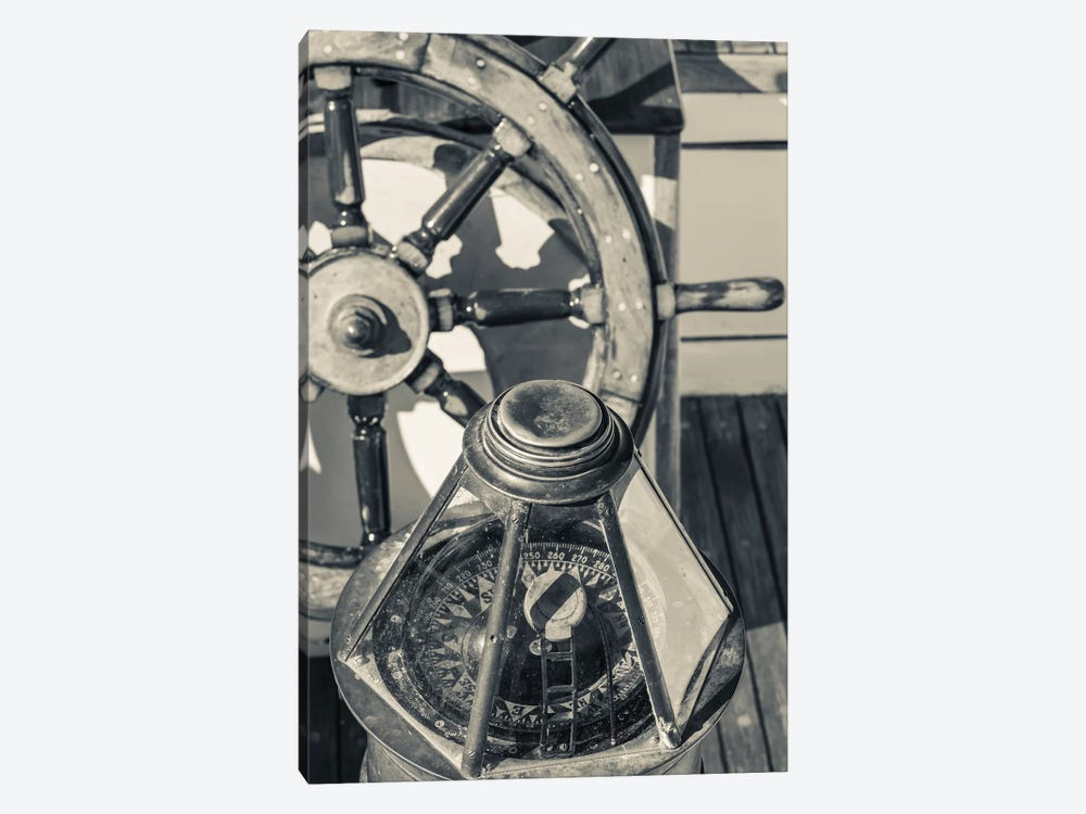 USA, Massachusetts, Cape Ann, Gloucester, schooner marine compass and ship's wheel by Walter Bibikow 1-piece Canvas Art