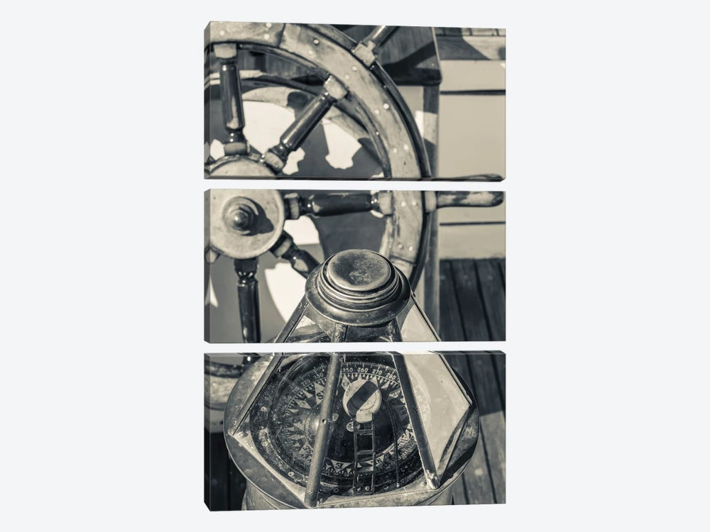 USA, Massachusetts, Cape Ann, Gloucester, schooner marine compass and ship's wheel 3-piece Canvas Art