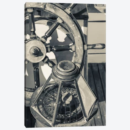 USA, Massachusetts, Cape Ann, Gloucester, schooner marine compass and ship's wheel Canvas Print #WBI115} by Walter Bibikow Art Print