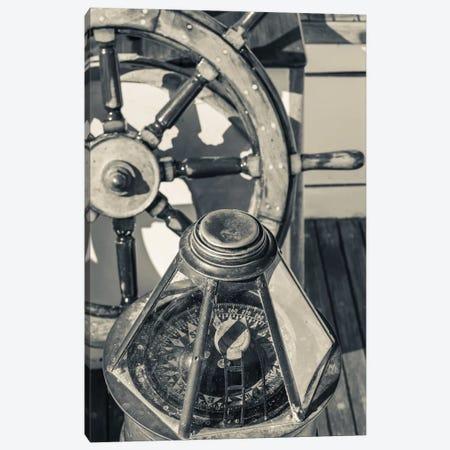 USA, Massachusetts, Cape Ann, Gloucester, schooner marine compass and ship's wheel Canvas Print #WBI115} by Walter Bibikow Art Print