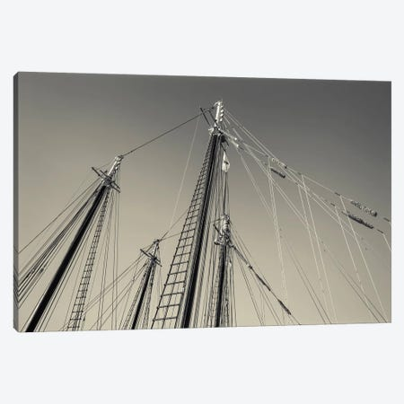 USA, Massachusetts, Cape Ann, Gloucester, schooner masts at dusk Canvas Print #WBI116} by Walter Bibikow Canvas Art Print