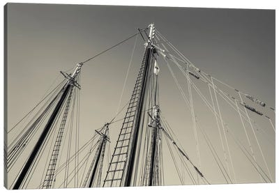 USA, Massachusetts, Cape Ann, Gloucester, schooner masts at dusk Canvas Art Print