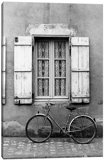 Bicycle Outside Of A Window, Marans, Poitou-Charentes, Nouvelle-Aquitaine, France Canvas Art Print