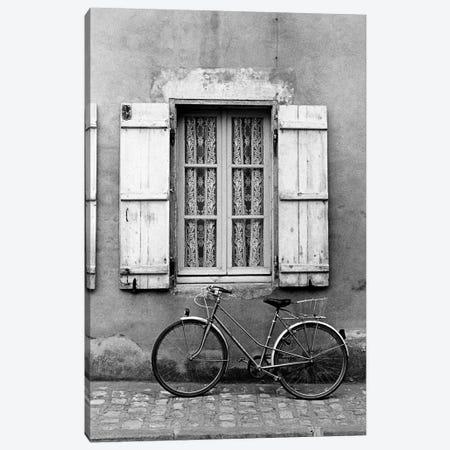 Bicycle Outside Of A Window, Marans, Poitou-Charentes, Nouvelle-Aquitaine, France Canvas Print #WBI11} by Walter Bibikow Canvas Art