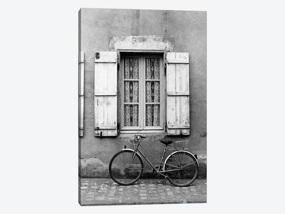 Bicycle Outside Of A Window, Marans, Poitou-Charentes, Nouvelle-Aquitaine, France by Walter Bibikow 1-piece Canvas Wall Art