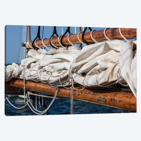USA, Massachusetts, Cape Ann, Gloucester, schooner sails II Canvas Print #WBI120} by Walter Bibikow Art Print