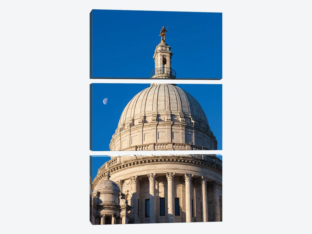 USA, Rhode Island, Providence, Rhode Island State House by Walter Bibikow 3-piece Canvas Wall Art