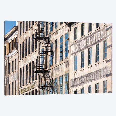 Canada, Quebec, Montreal. The Old Port, buildings along Rue de la Commune Canvas Print #WBI123} by Walter Bibikow Canvas Art Print