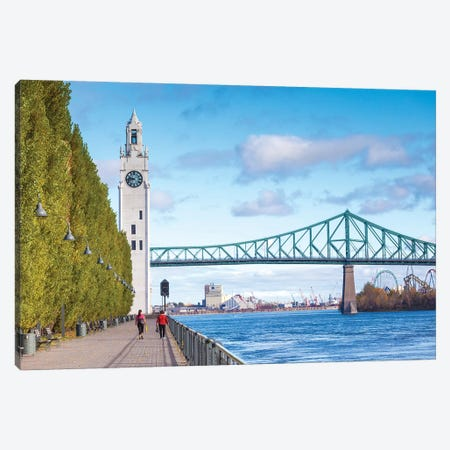 Canada, Quebec, Montreal. The Old Port, Sailor's Memorial Clock Tower and Jacques Cartier Bridge Canvas Print #WBI124} by Walter Bibikow Canvas Wall Art