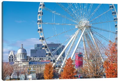 Canada, Quebec, Montreal. The Old Port, The Montreal Observation Wheel Canvas Art Print