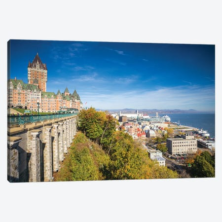 Canada, Quebec, Quebec City. Chateau Frontenac, Terrase Dufferin and old lower town Canvas Print #WBI126} by Walter Bibikow Canvas Art
