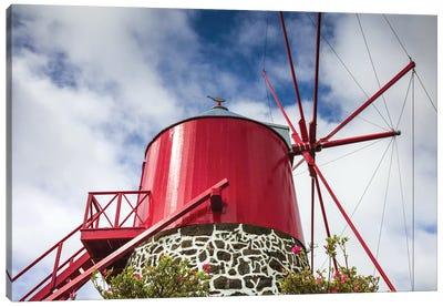 Portugal, Azores, Faial Island, Espalamaca. Traditional windmill Canvas Art Print