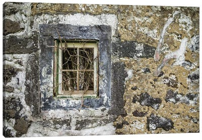 Portugal, Azores, Faial Island, Norte Pequeno. Ruins of building damaged by volcanic eruption Canvas Art Print