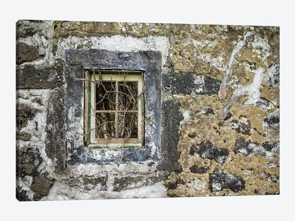 Portugal, Azores, Faial Island, Norte Pequeno. Ruins of building damaged by volcanic eruption 1-piece Canvas Artwork
