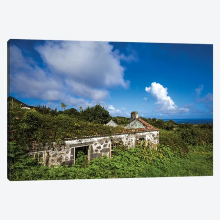 Portugal, Azores, Faial Island, Norte Pequeno. Ruins of building damaged by volcanic eruption Canvas Print #WBI135} by Walter Bibikow Art Print