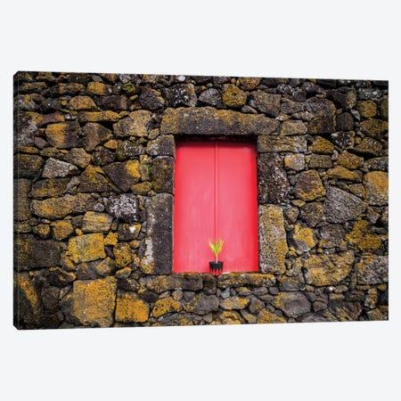 Portugal, Azores, Pico Island, Madalena. Red doors on barn Canvas Print #WBI136} by Walter Bibikow Art Print