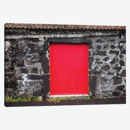 Portugal, Azores, Pico Island, Porto Cachorro. Old fishing community set in volcanic rock buildings Canvas Print #WBI137} by Walter Bibikow Canvas Print