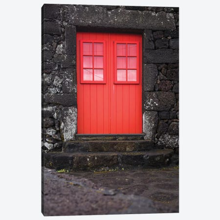 Portugal, Azores, Pico Island, Porto Cachorro. Old fishing community set in volcanic rock buildings Canvas Print #WBI138} by Walter Bibikow Canvas Artwork