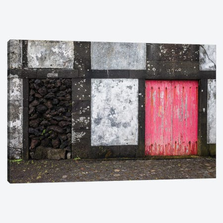 Portugal, Azores, Pico Island, Porto Cachorro. Old fishing community set in volcanic rock buildings Canvas Print #WBI139} by Walter Bibikow Canvas Art
