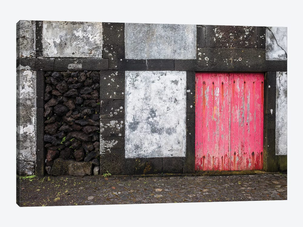 Portugal, Azores, Pico Island, Porto Cachorro. Old fishing community set in volcanic rock buildings by Walter Bibikow 1-piece Canvas Wall Art