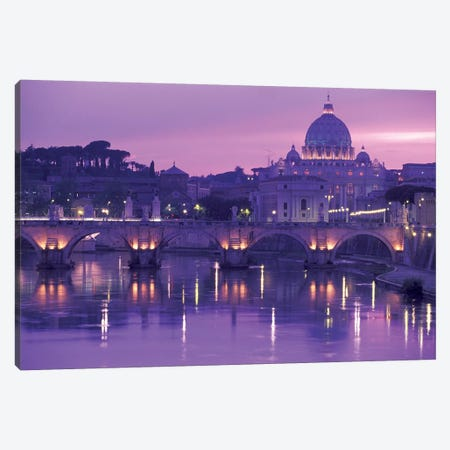 Ponte Sant'Angelo (Pons Aelius) With St. Peter's Basilica, Rome, Lazio Region, Italy Canvas Print #WBI13} by Walter Bibikow Canvas Art