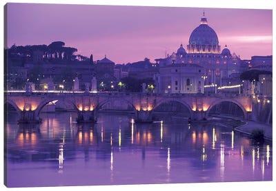 Ponte Sant'Angelo (Pons Aelius) With St. Peter's Basilica, Rome, Lazio Region, Italy Canvas Art Print