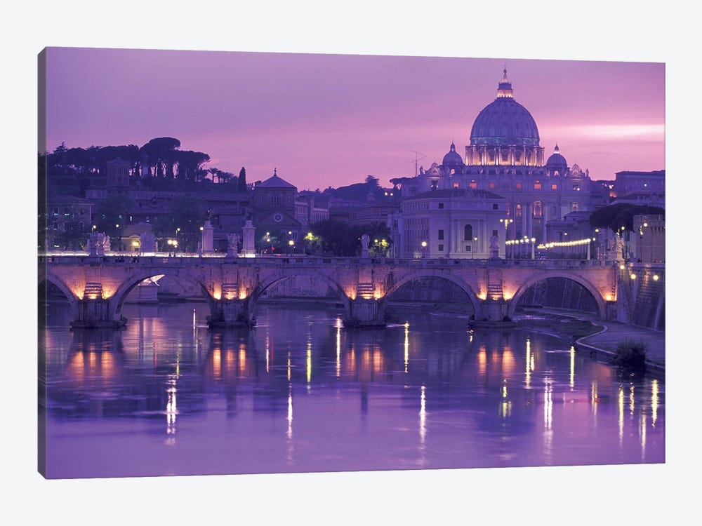 Ponte Sant'Angelo (Pons Aelius) With St. Peter's Basilica, Rome, Lazio Region, Italy by Walter Bibikow 1-piece Canvas Wall Art