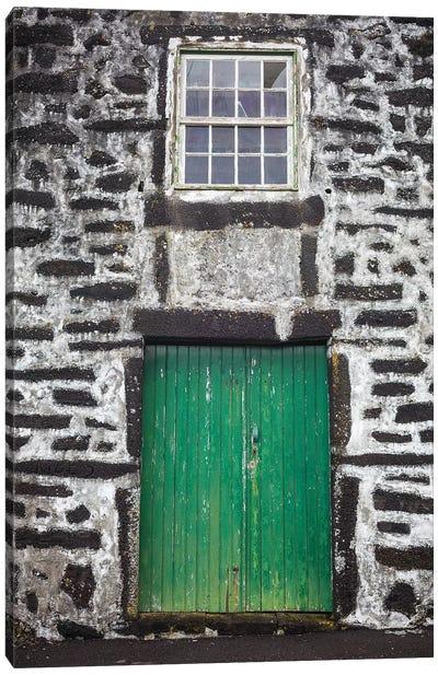 Portugal, Azores, Pico Island, Porto Cachorro. Old fishing community set in volcanic rock buildings Canvas Art Print