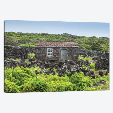 Portugal, Azores, Pico Island, Porto Cachorro. Old fishing community set in volcanic rock buildings Canvas Print #WBI141} by Walter Bibikow Canvas Art Print
