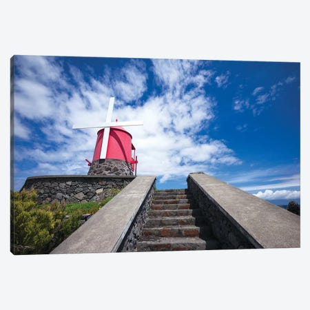Portugal, Azores, Pico Island, Sao Roque do Pico. Traditional windmill Canvas Print #WBI142} by Walter Bibikow Art Print