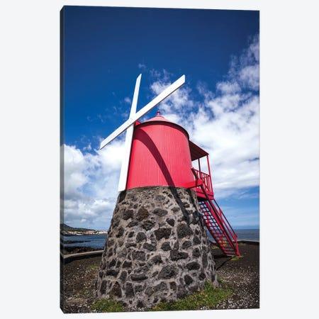 Portugal, Azores, Pico Island, Sao Roque do Pico. Traditional windmill Canvas Print #WBI143} by Walter Bibikow Canvas Art Print
