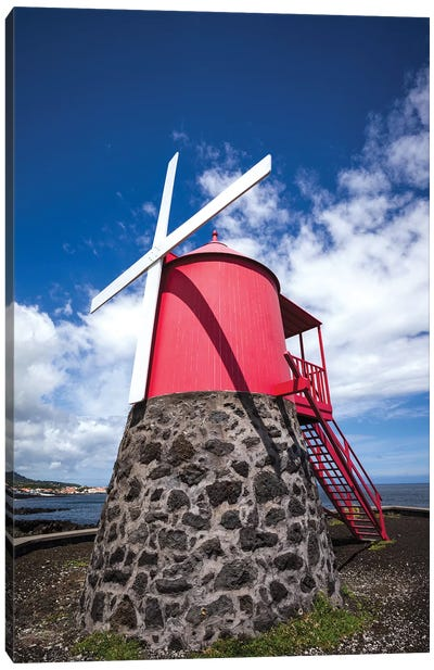 Portugal, Azores, Pico Island, Sao Roque do Pico. Traditional windmill Canvas Art Print