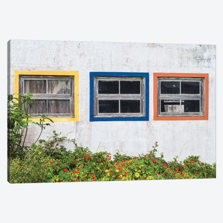Portugal, Azores, Santa Maria Island, Anjos. Windows of the old factory Canvas Print #WBI144} by Walter Bibikow Canvas Art